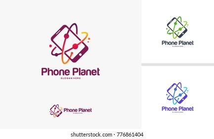 Phone Planet logo designs, Mobile Planet Logo template vector