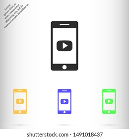 phone play vector icon , Lorem ipsum flat design
