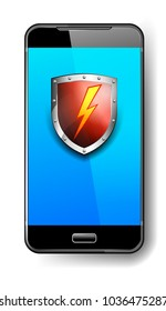 Phone Protection Red Shield with Lightning Bolt Safeguard Icon, Symbol