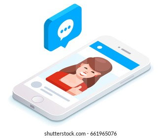 Phone and push notifications. Vector phone and social network. New message notification.