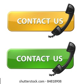 """Phone receiver and """"contact us"""" button"""