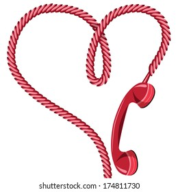Phone receiver and cord as heart. Love hotline concept vector for valentine's day