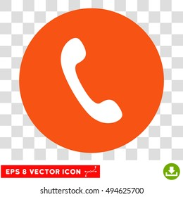 Phone Receiver round icon. Vector EPS illustration style is flat iconic bicolor symbol, white and orange colors, transparent background.