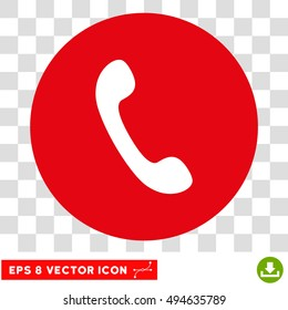 Phone Receiver round icon. Vector EPS illustration style is flat iconic bicolor symbol, white and intensive red colors, transparent background.