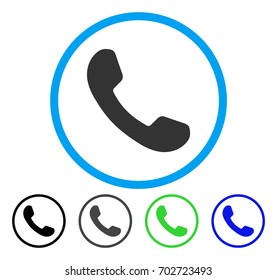 Phone Receiver rounded icon. Vector illustration style is a flat iconic symbol inside a circle, black, gray, blue, green versions. Designed for web and software interfaces.