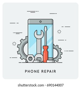 Phone repair. Flat thin line concept. Vector illustration.