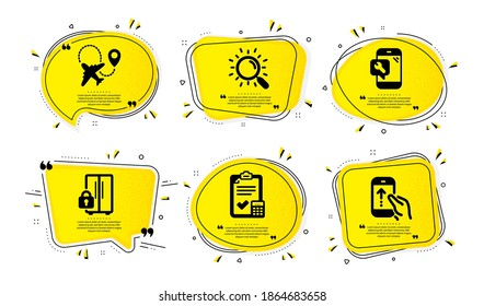 Phone repair, Refrigerator and Search icons simple set. Yellow speech bubbles with dotwork effect. Airplane, Accounting checklist and Swipe up signs. Vector