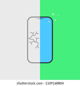 phone repair service after breakage. flat cartoon style trend modern logotype graphic art design element. concept of badge for fast service for mending mobile equipment or broken smartphone or tablet