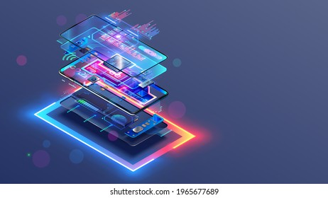 Phone repair service. Disassembled smartphone. Case and electronic parts or components on scheme of abstract mobile phone. CPU, motherboard of smartphone. Non-assembled cellphone. Isometric concept.