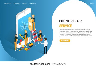 Phone repair service landing page website template. Vector isometric smartphone with shattered screen and professional techs repairing cell phone screen.