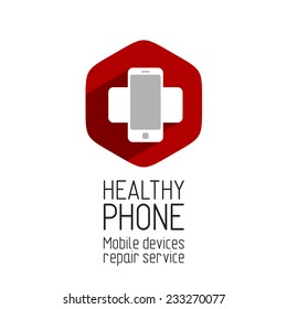Phone repair service logo template. Crossing phones with shadow at the hex background.
