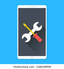 Phone repair, smartphone maintenance. Wrench and screwdriver on mobile phone screen. Technical support, settings, technical issues concepts. Modern flat design. Vector illustration