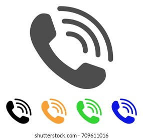 Phone Ring vector pictograph. Style is a flat graphic symbol in grey, black, yellow, blue, green color variants. Designed for web and mobile apps.