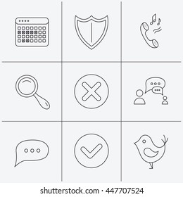 Phone ringtone, chat speech bubble icons. Shield, dialog and magnifier linear signs. Bird, calendar of vacations icons. Linear icons on white background. Vector