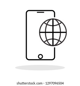 Phone roaming icon in flat style. Roaming symbol for your web site design, logo, app, UI Vector EPS 10.