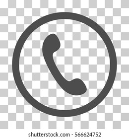 Phone rounded icon. Vector illustration style is flat iconic symbol inside a circle, gray color, transparent background. Designed for web and software interfaces.