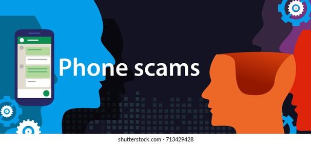 phone scam via smart-phone security fraud vector illustration