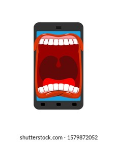 Phone is screaming. Smartphone with an open mouth swears. Angry gadget