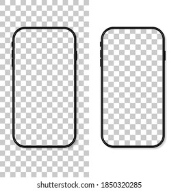 Phone screen. Frame and template of cellphone isolated on transparent background. Smartphone mockup. Cellphone with blank display. Vertical desktop. Realistic 3d 6,7 ui for app, background. Vector.
