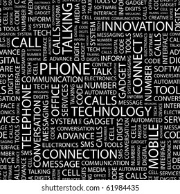 PHONE. Seamless vector pattern with word cloud. Illustration with different association terms.