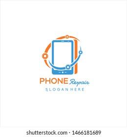 phone service logo, Rhone Repair, simple, concept, logo template - Vector