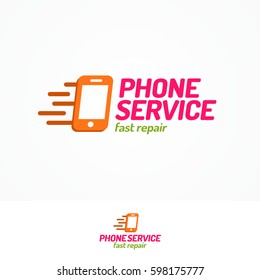 Phone service logo set with silhouette phone and sign fast repair flat color style can use for mobile shop, fix. Perfect for your business design. Vector Illustration