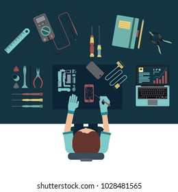 Phone service and repair center concepts. Top view. Flat design vector illustration.