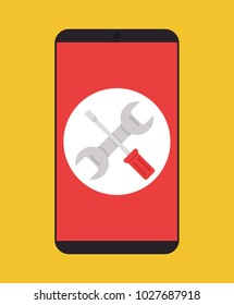 Phone service repairs flat isolated icon. Vector cartoon illustration