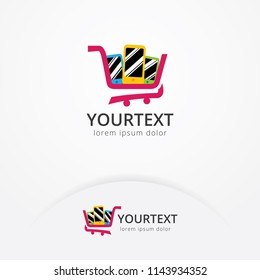 Phone shop logo design, Vector illustration of the mobile phone inside the shopping cart. Online shop and E-commerce logo template