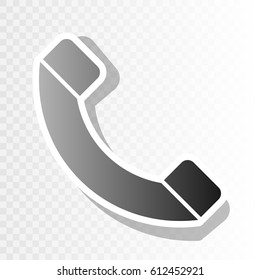 Phone sign illustration. Vector. Blackish icon on transparent background with transition.