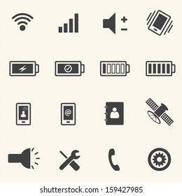 Phone and sign of power icons set