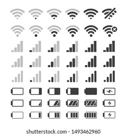 Phone signal and battery icons. Vector mobile interface top bar icon set for network signals and telephone charge levels status