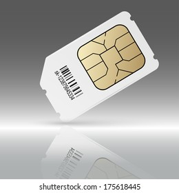 Phone sim card with reflection