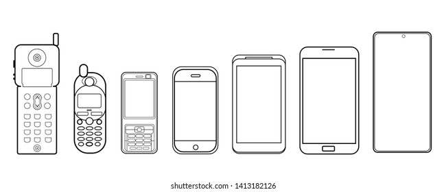 From phone to smartphone. Icon Phone evolution. Lines Vector design graphics  isolated on white background.
