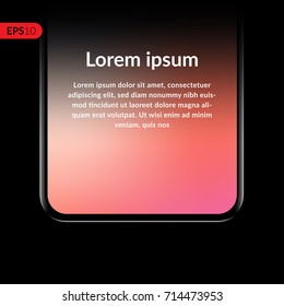 Phone, smartphone, mobile closeup vector mockup isolated on black background with trend gradient screen. Front view realistic illustration phone with text template.
