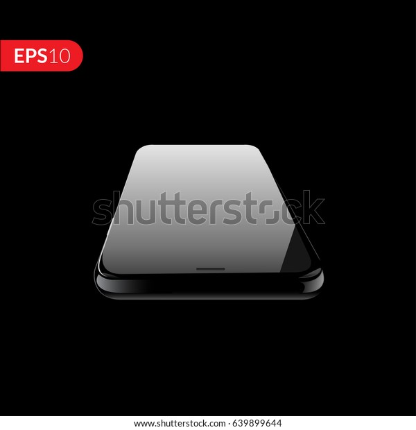 Phone, smartphone, mobile vector mockup isolated on black background with empty screen. Back and front view realistic illustration phone with black color.