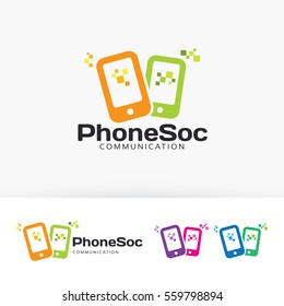 Phone Social, app, mobile, store, shop, technology. Vector logo template