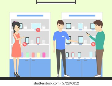 Phone store with consultant. Salespersons and buyers. Shelves with phones, tablets and other devices and accessories.