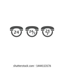 Phone symbol, 24/7 service support black vector icon. Contact phone, twenty four seven servise symbol pictogram.