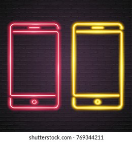 Phone Symbol Neon Light Glowing Illustration Icon Red and Yellow Colour