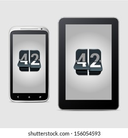 Phone and tablet with counter icons