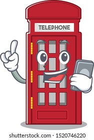 With phone telephone booth character shape on mascot