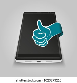 Phone with thumb up - vector illustration