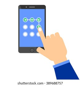 Phone unlocking pattern. Hand performing touch gesture to unlock device. Idea - Security technologies, Limited access, Passwords and Unlocking mobile phones concepts.