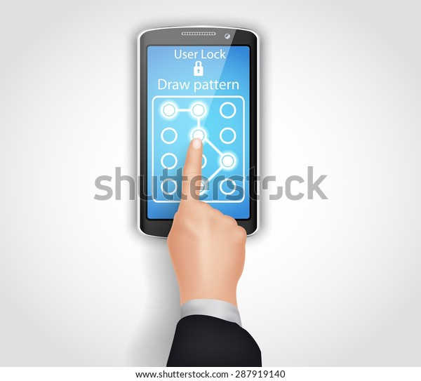 Phone unlocking pattern. vector