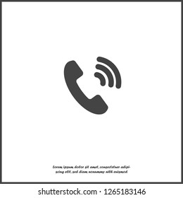 Phone vector icon on flat style. Handset on white isolated background. Layers grouped for easy editing illustration. For your design.