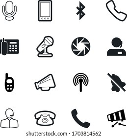 phone vector icon set such as: bell, receiver, alarm, estate, antenna, no, station, spot, camera, life, education, bluetooth, logo, plastic, drawing, megaphone, announcement, transfer, green, home
