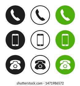 Phone vector icons isolated on white background.
