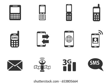 phone web icons. set of simple symbols silhouettes