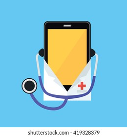 Phone in a white coat and stethoscope. Smartphone dressed in a doctor shape isolated on a blue background. Medical healthcare and medicine mobile consultant in uniform profession. Vector illustration